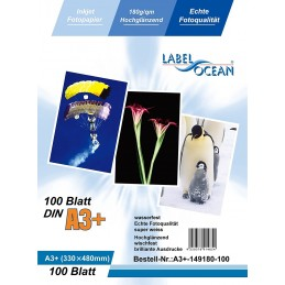 Hartie Foto A3+ Plus LabelOcean Premium High Glossy 180g 100 Coli