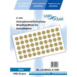 Etichete Autoadezive Buline Colorate Diametru 8 mm Folie Metalica 1000 Bucati