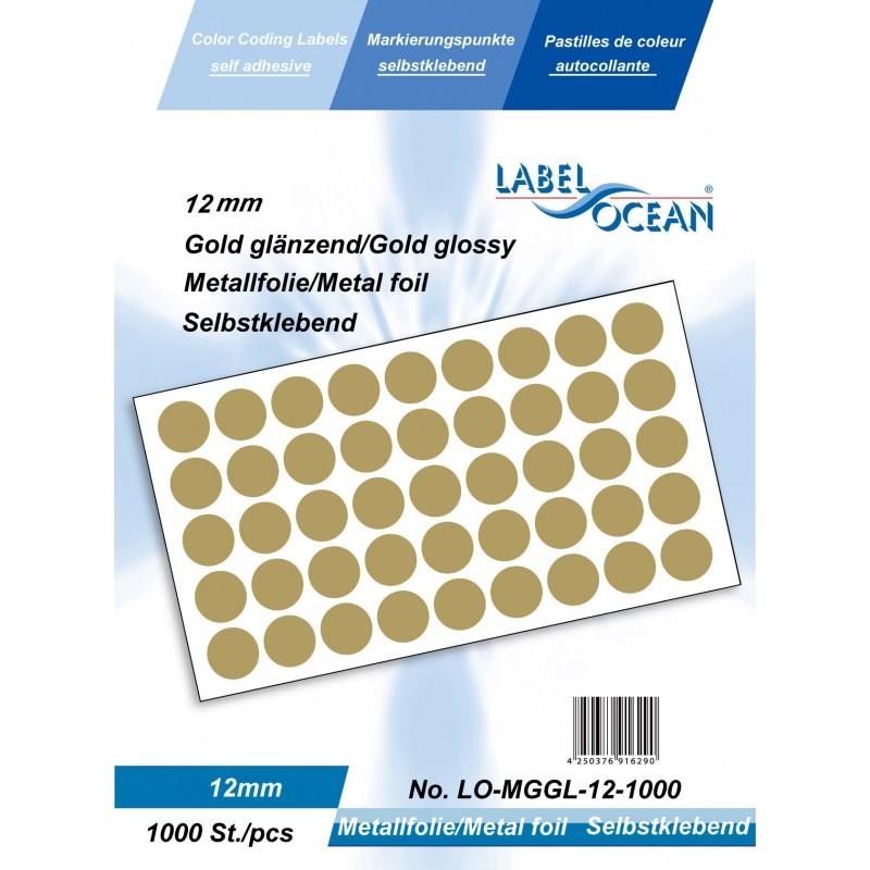 Etichete Autoadezive Buline Colorate Diametru 12 mm Folie Metalica 1000 Bucati