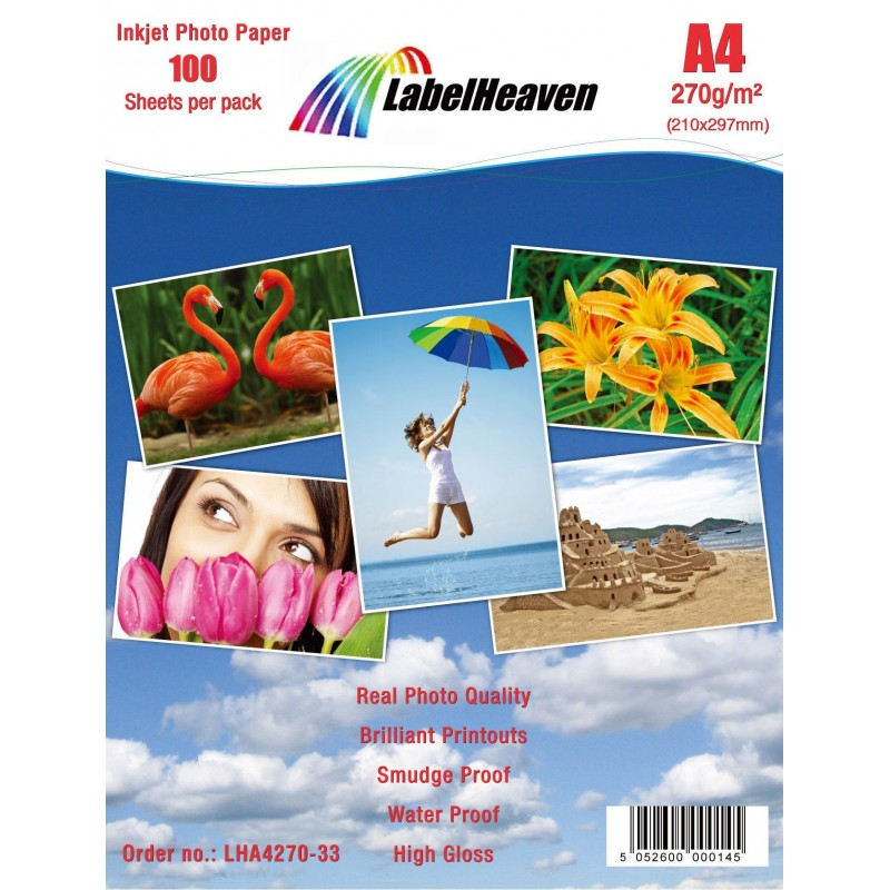 Hartie Foto A4 LabelHeaven Premium High Glossy 270g 100 Coli